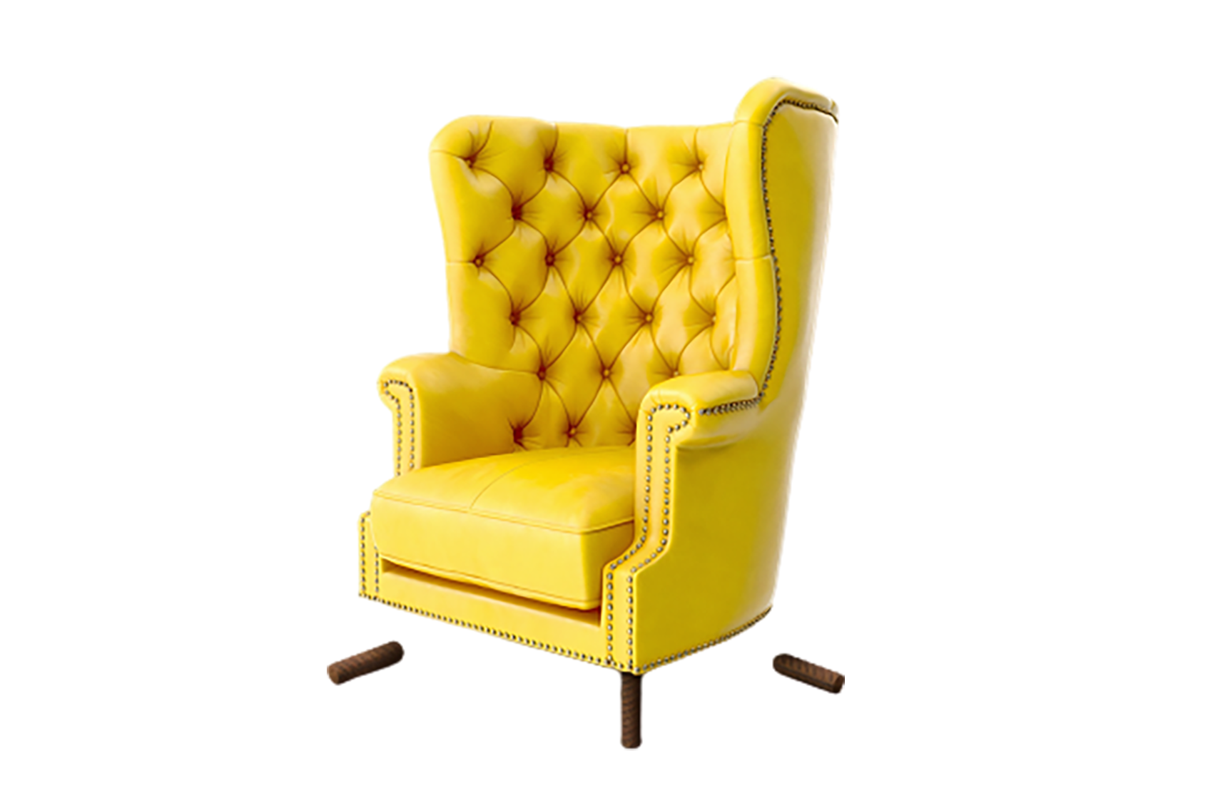 Yellow-colored foam chair transparent background PNG