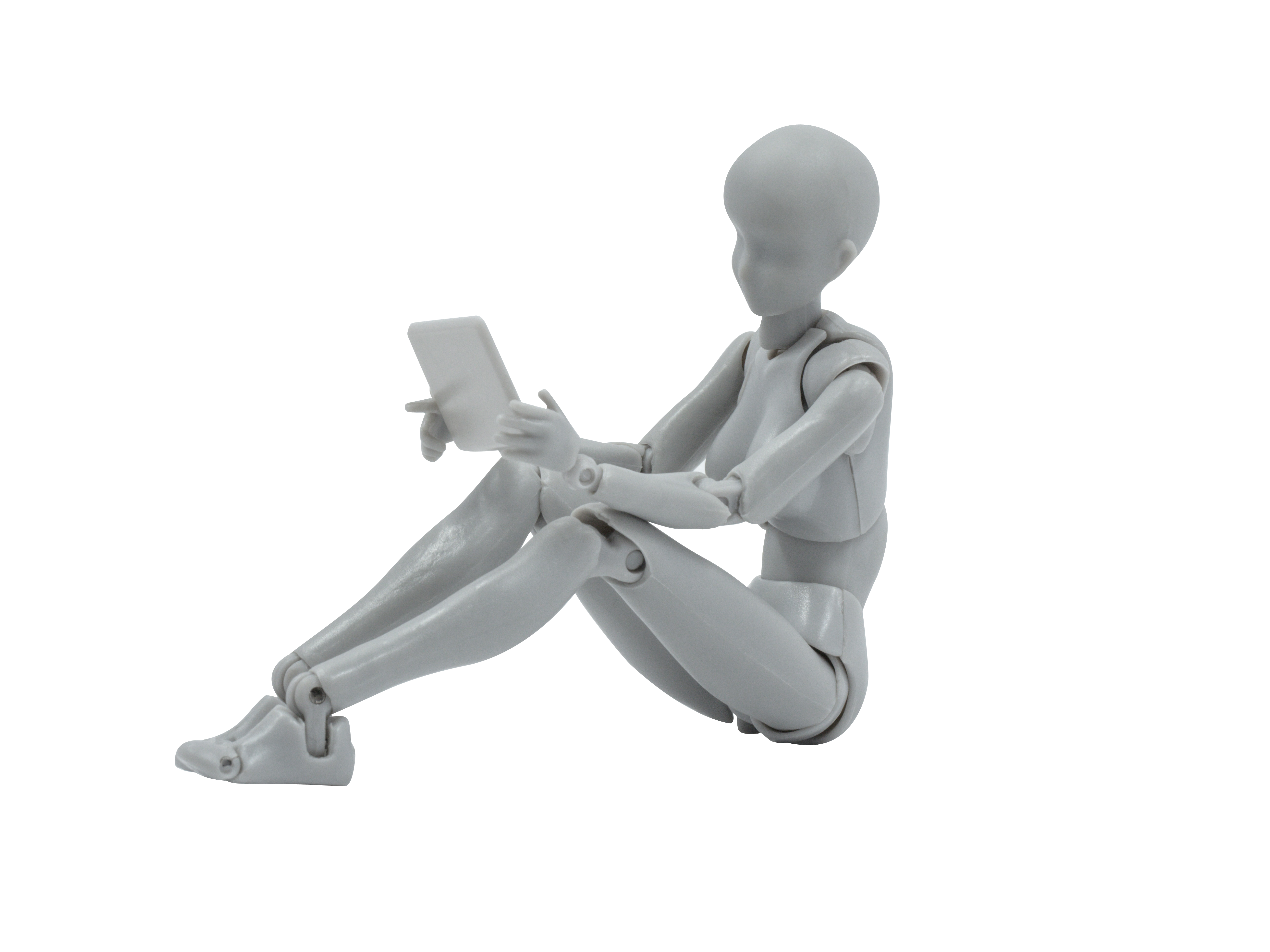 Female Mannequin Looking at Tablet Transparent Background PNG