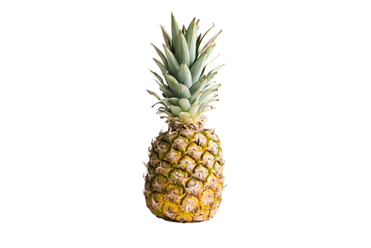 Greenish yellow Pineapple with long crown transparent background PNG