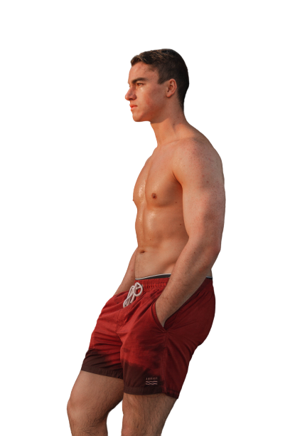 Man wearing red pant, side views transparent background PNG