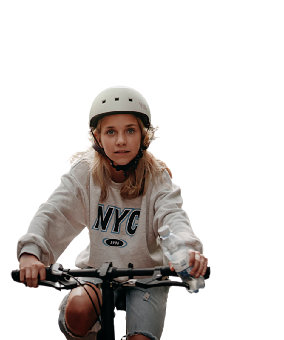 Girl with a bi-cycle transparent background PNG