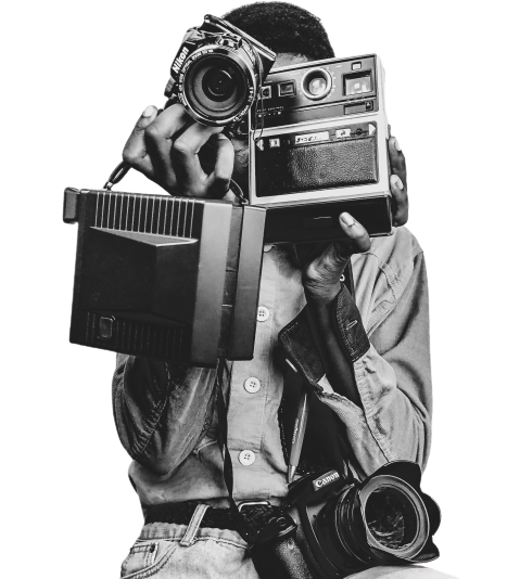 photographer with three cameras transparent background PNG