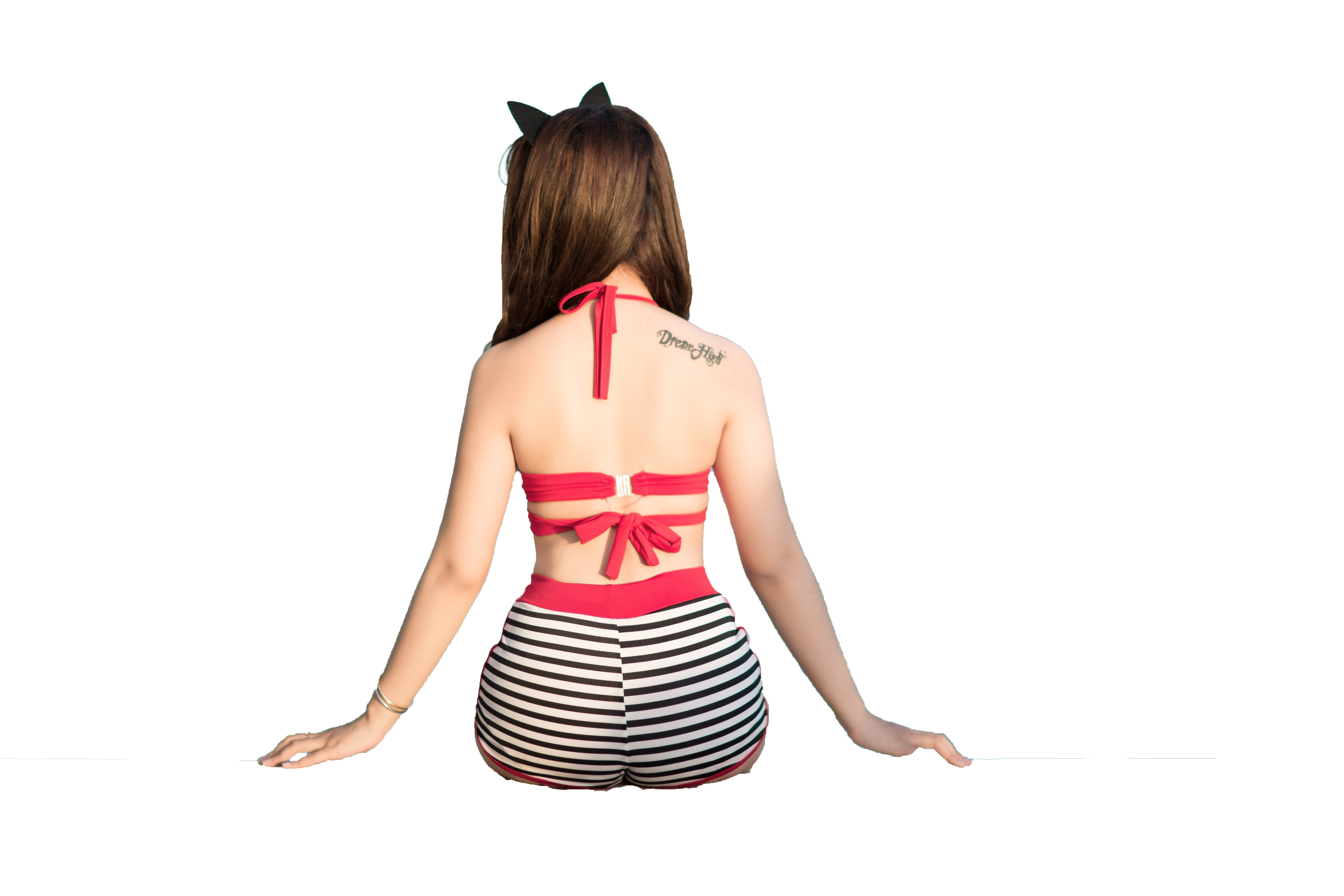 Sitting Girl Backview On Beach Transparent Background PNG