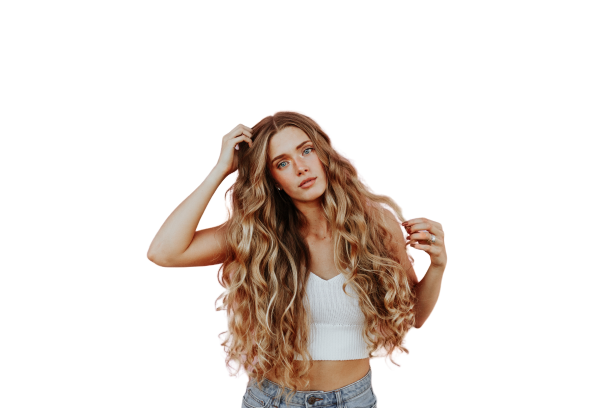 Blonde Beautiful girl with curly hairs transparent background PNG