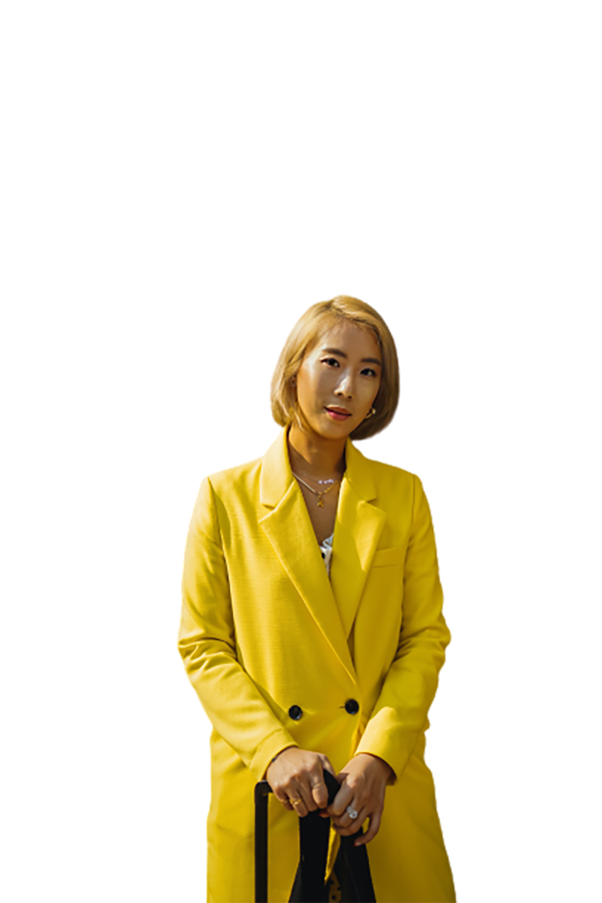 Woman wearing a yellow coat transparent background PNG