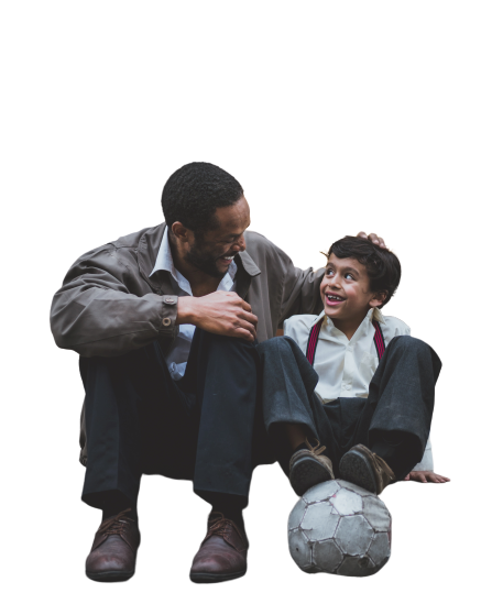boy with man with football transparent background PNG