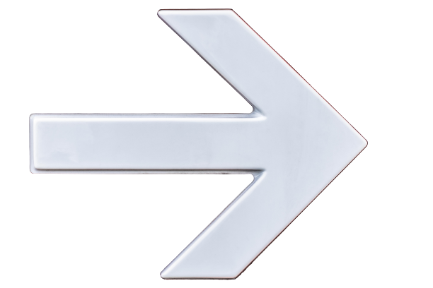 White-colored arrow showing direction transparent background PNG
