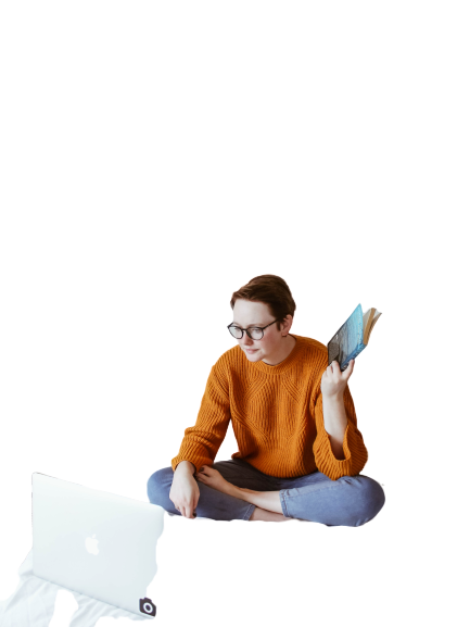 Boy with mac book transparent background PNG