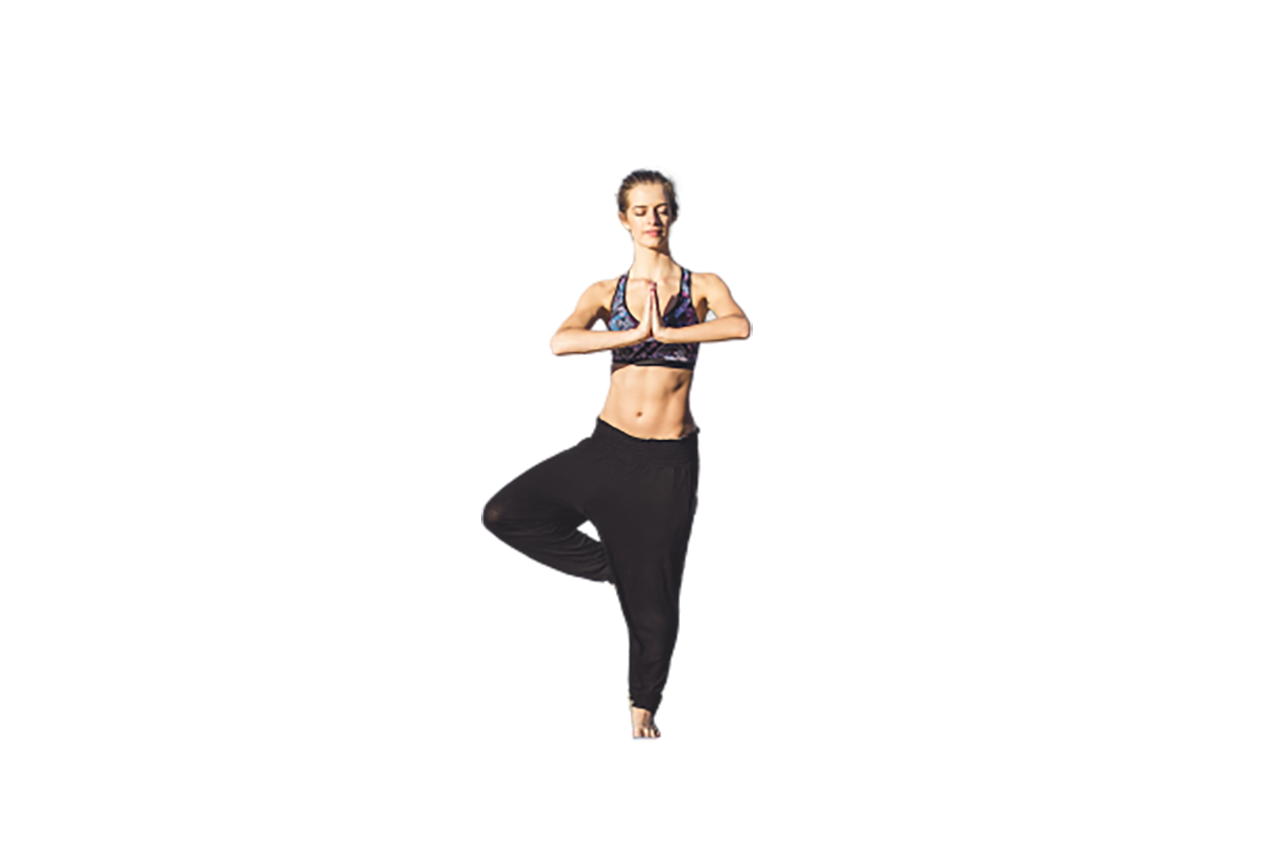 Beautiful woman doing yoga transparent background PNG