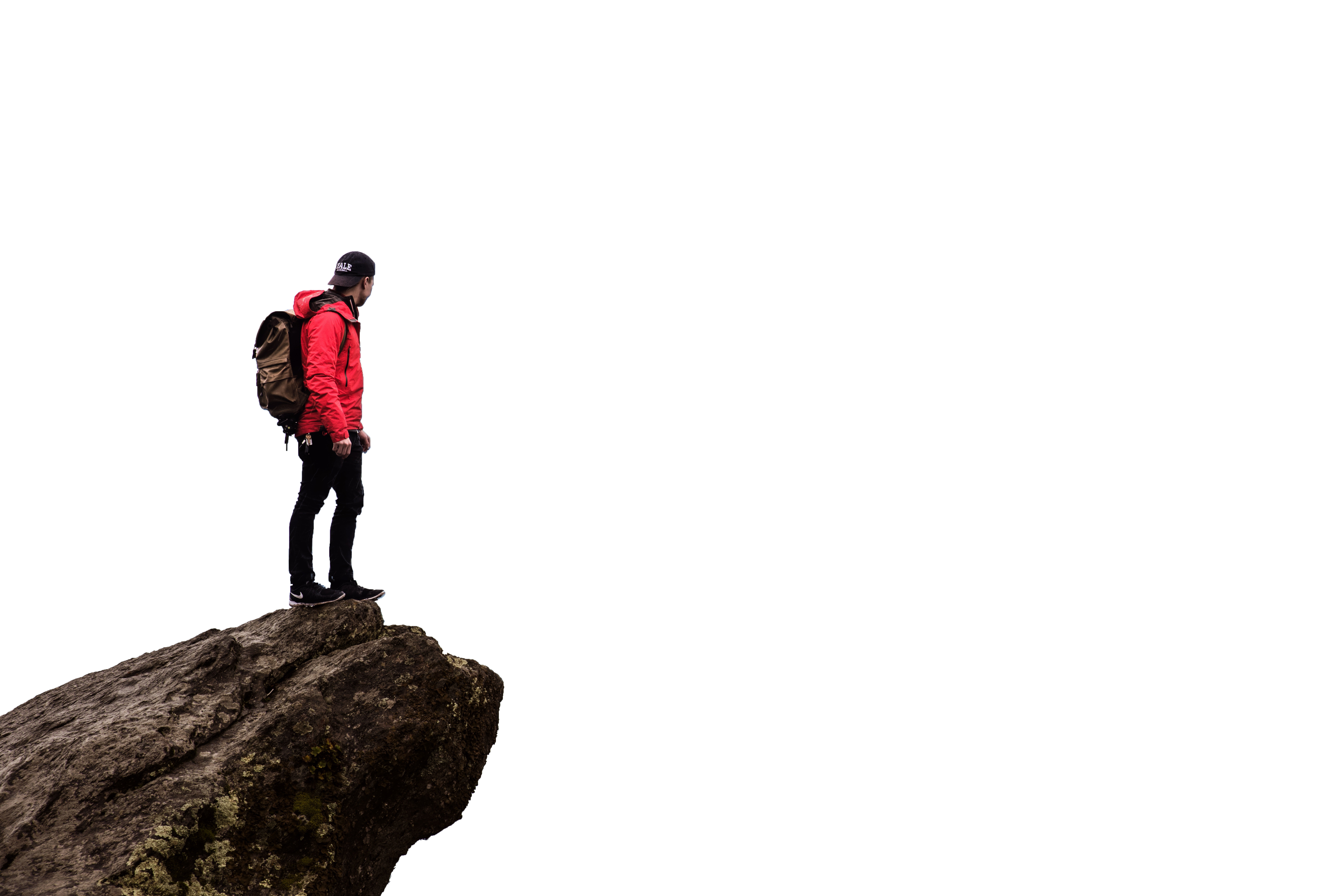 Man On The Mountain Edge with transparent Background PNG