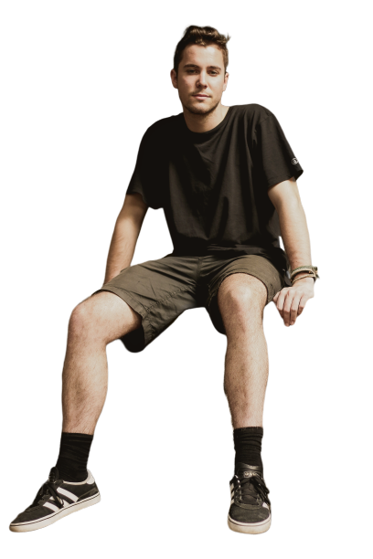 Boy wearing shorts and black shirt   Transparent background. PNG