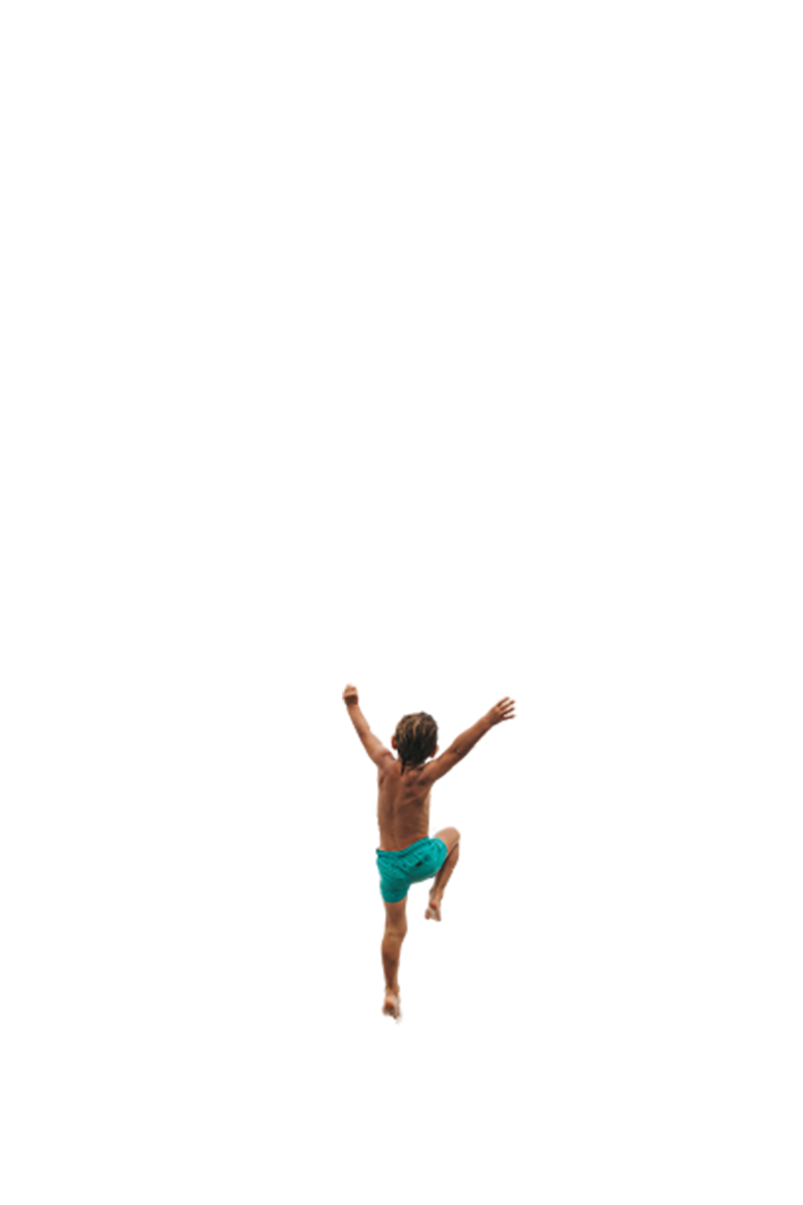 Young boy running and jumping transparent background PNG