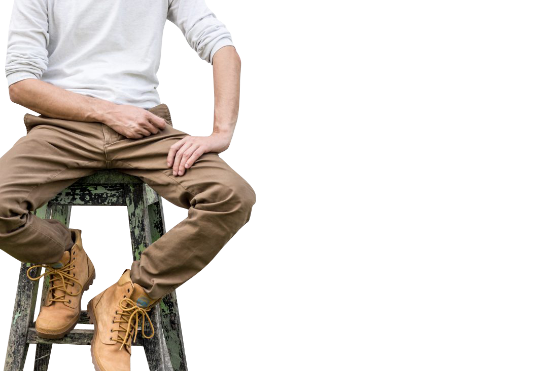 Man in Boots sitting Transparent Background PNG