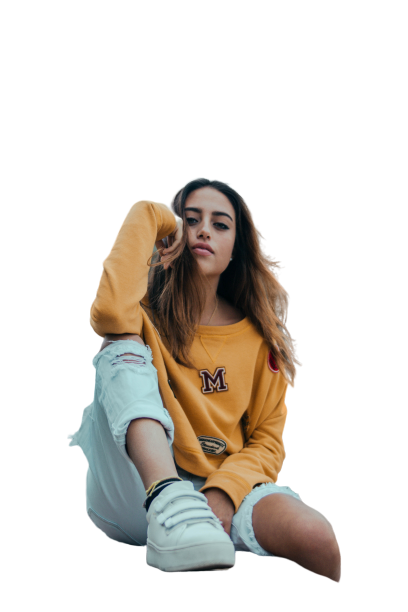 Yellow shirt with white shoes girl  transparent background PNG