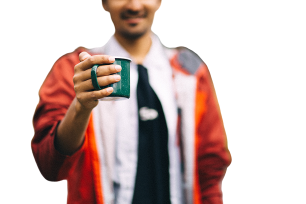 boy with cup transparent background PNG