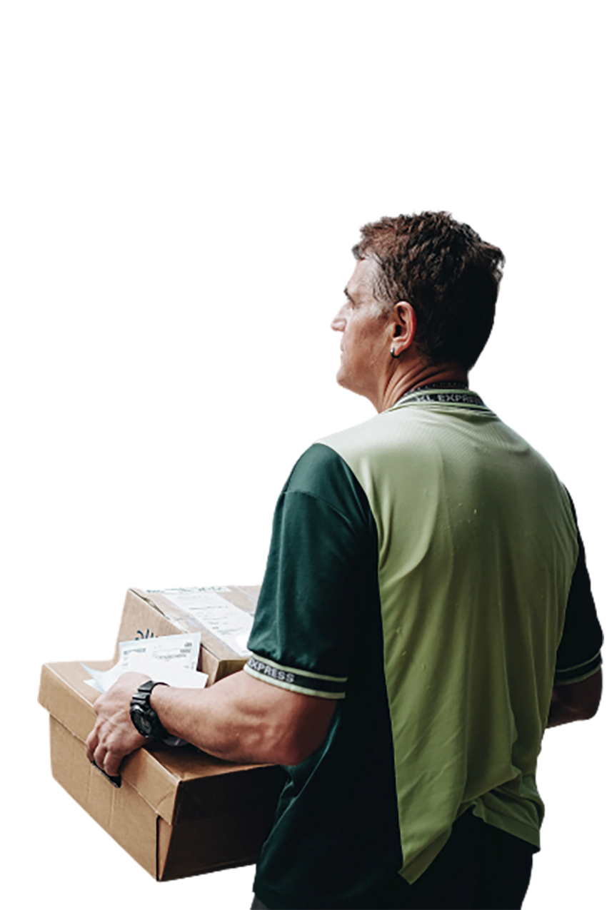Man carrying cardboard box transparent background PNG