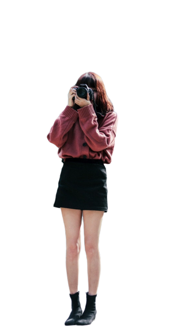 Girl with black skirt Transparent Background PNG