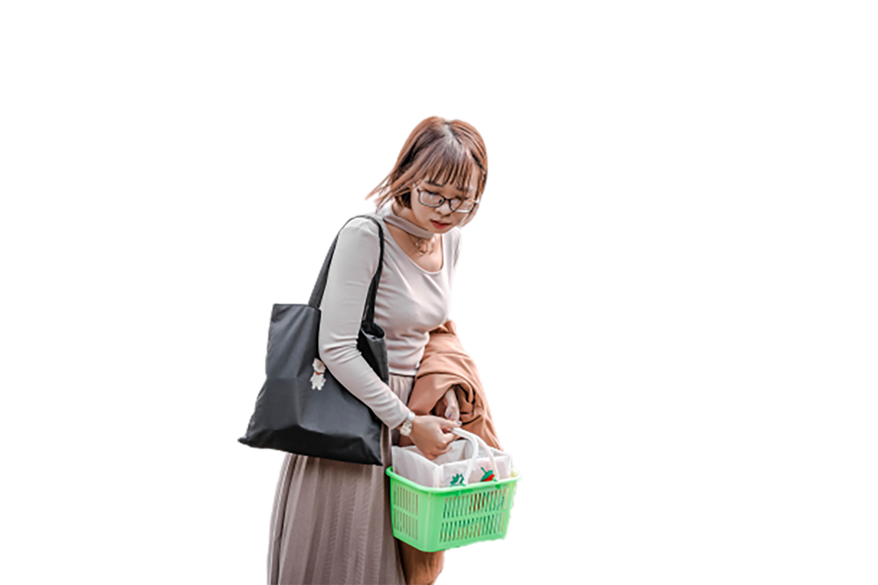 A Chinese woman is looking down transparent background PNG