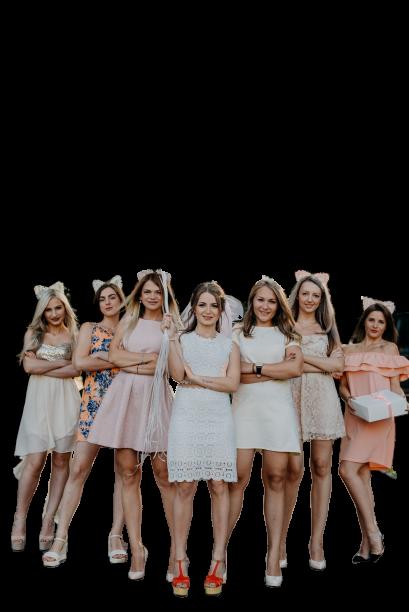 Seven girls standing
