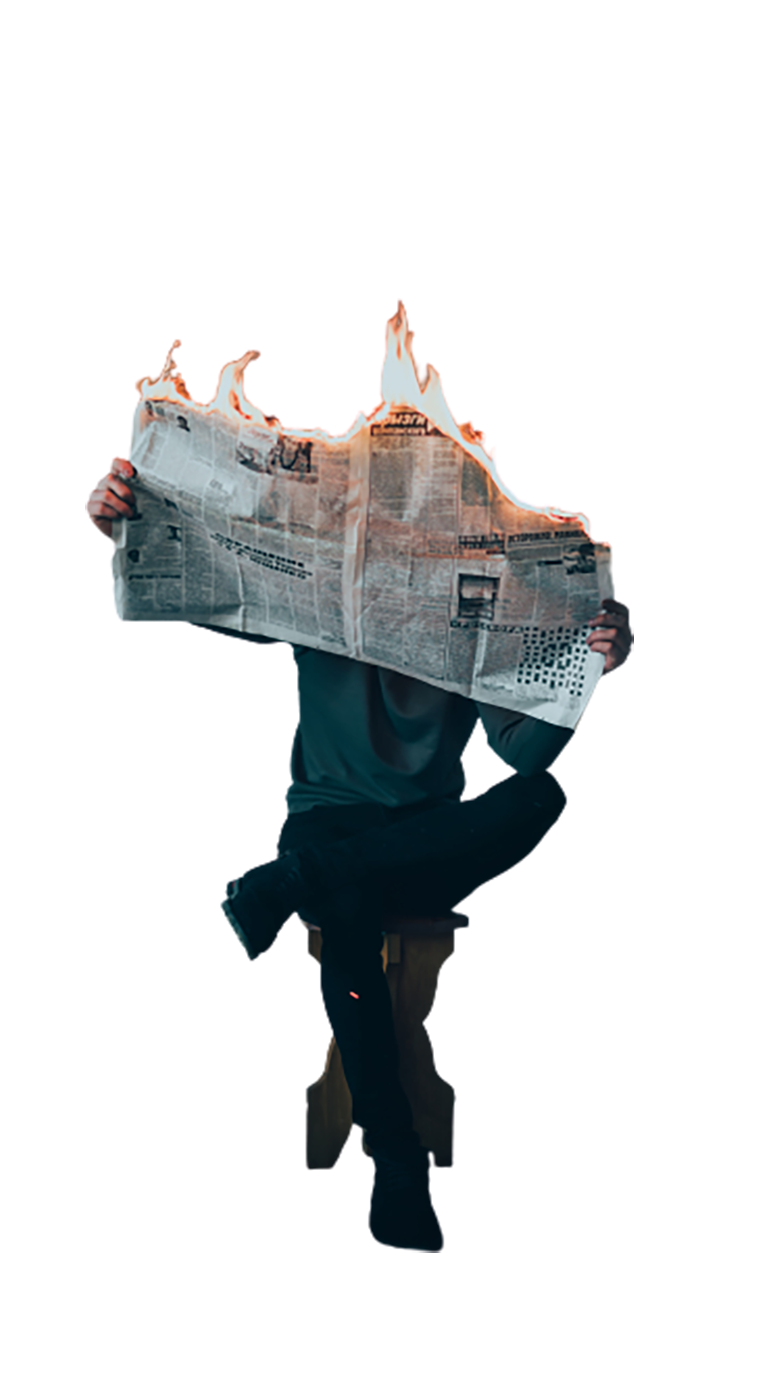 Man reading a burning newspaper transparent background PNG