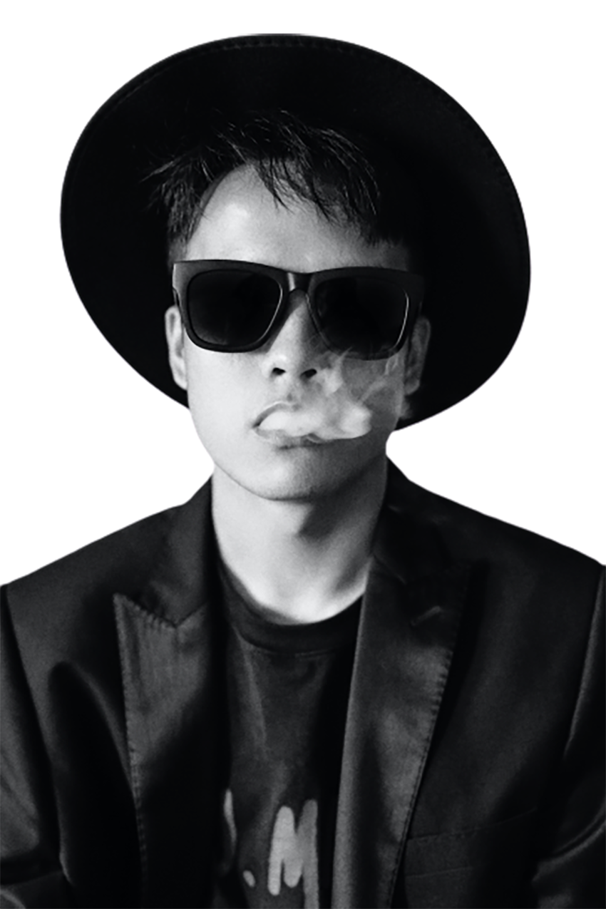Man smoking, black and white transparent background PNG