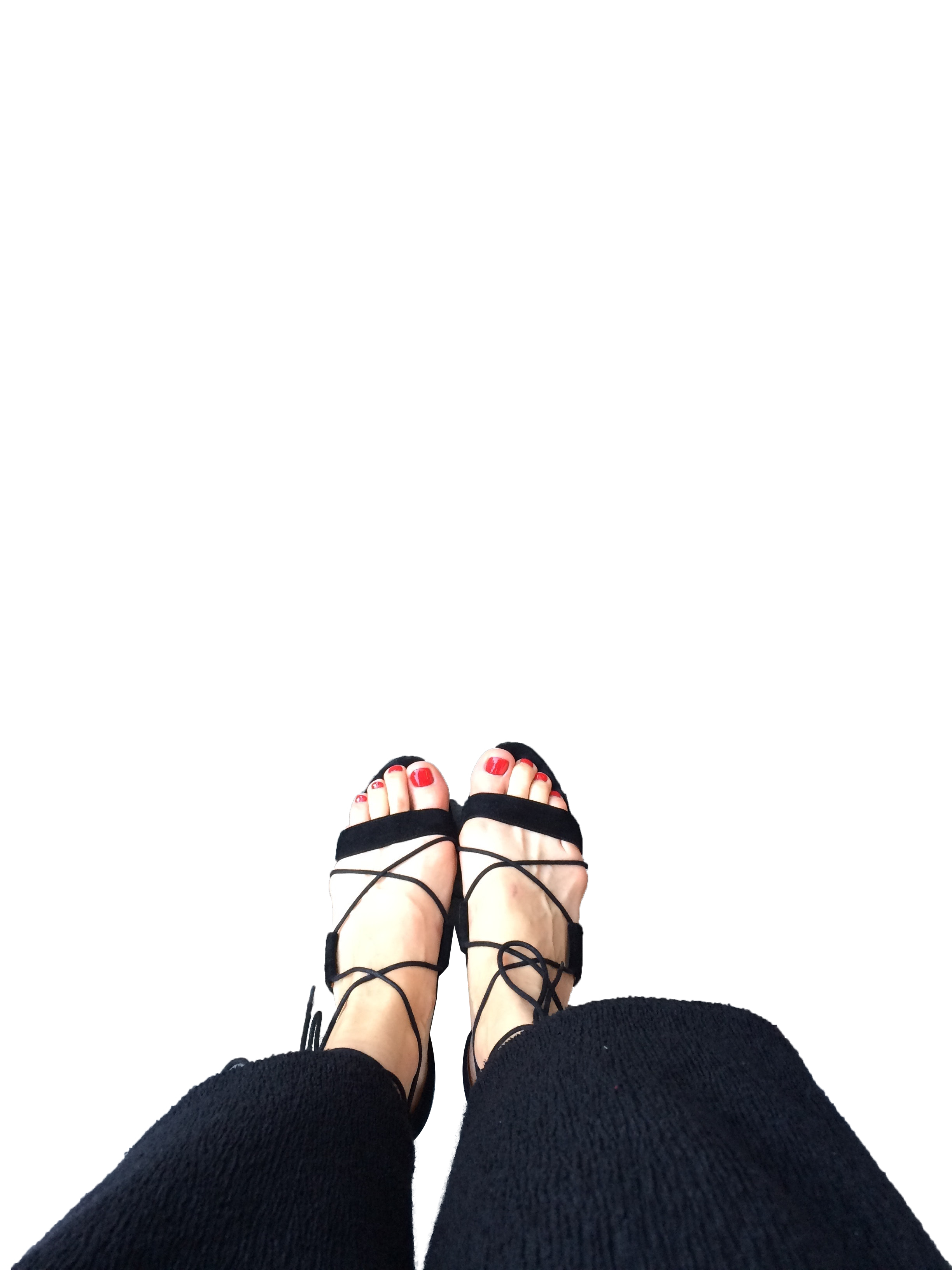 Girl Wearing Black footwear with Transparent Background PNG