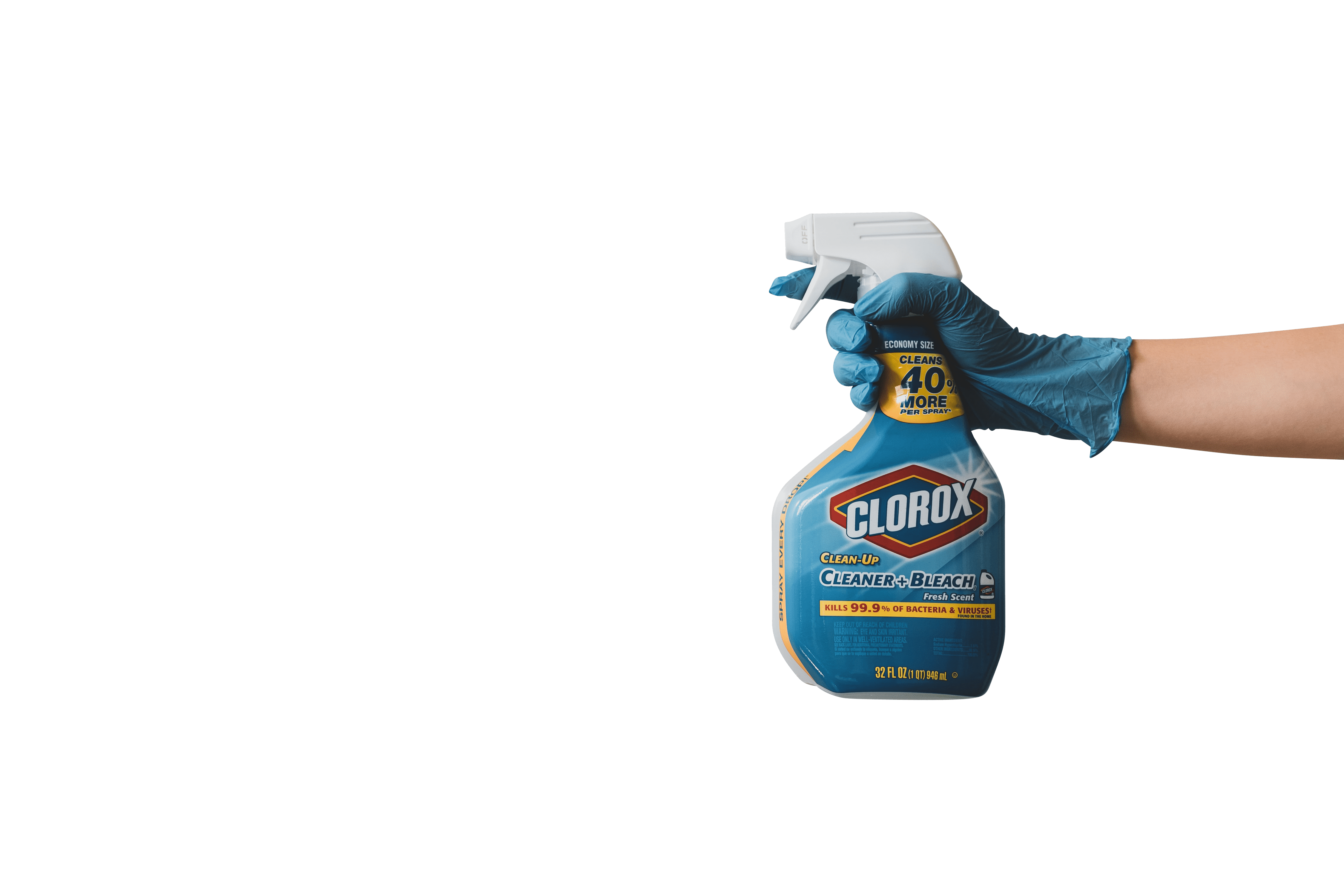 hand with rubber gloves holding blue bleaching spray bottle transparent background.png