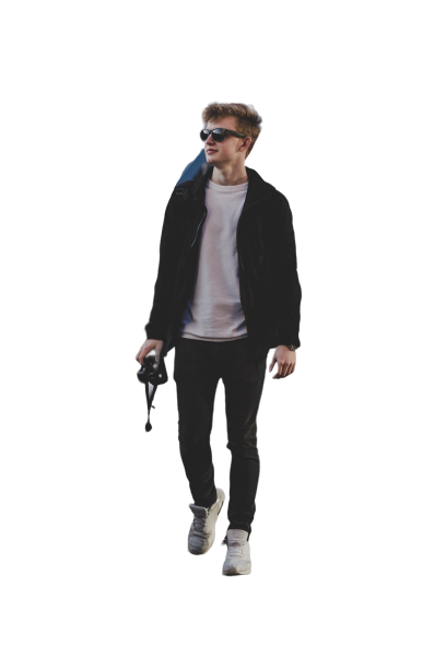 Boy with black jacket and white shoes Transparent Background PNG