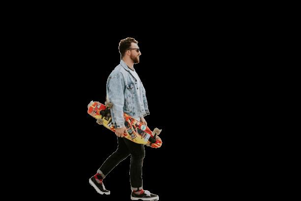 Men having skates in hands Transparent Background PNG