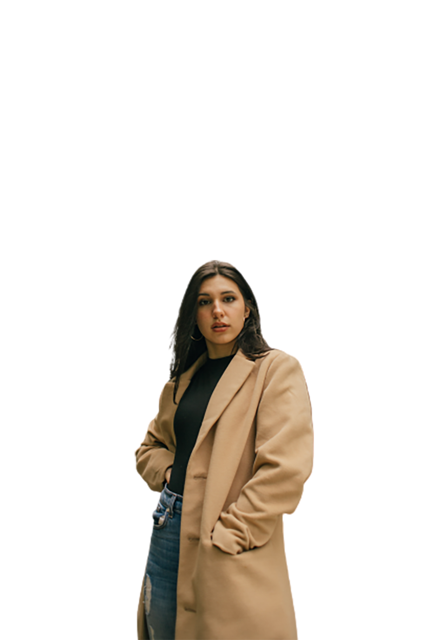 Girl wearing light brown coat is sitting transparent background PNG