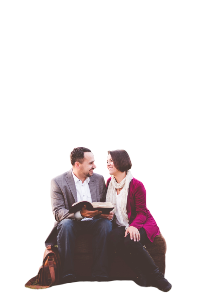 Beautiful couple sitting and smiling  Transparent background PNG .