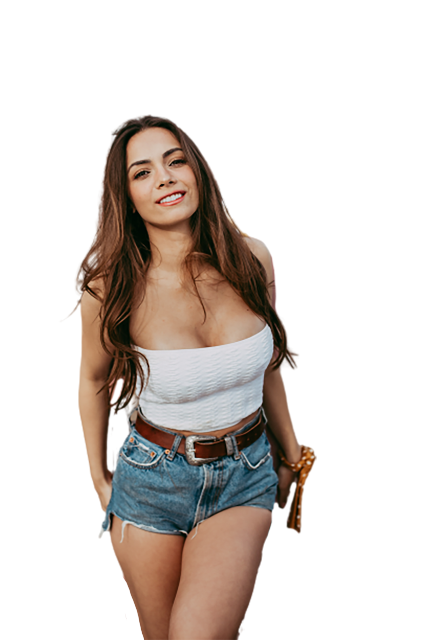 A jolly girl in blue jeans transparent background PNG