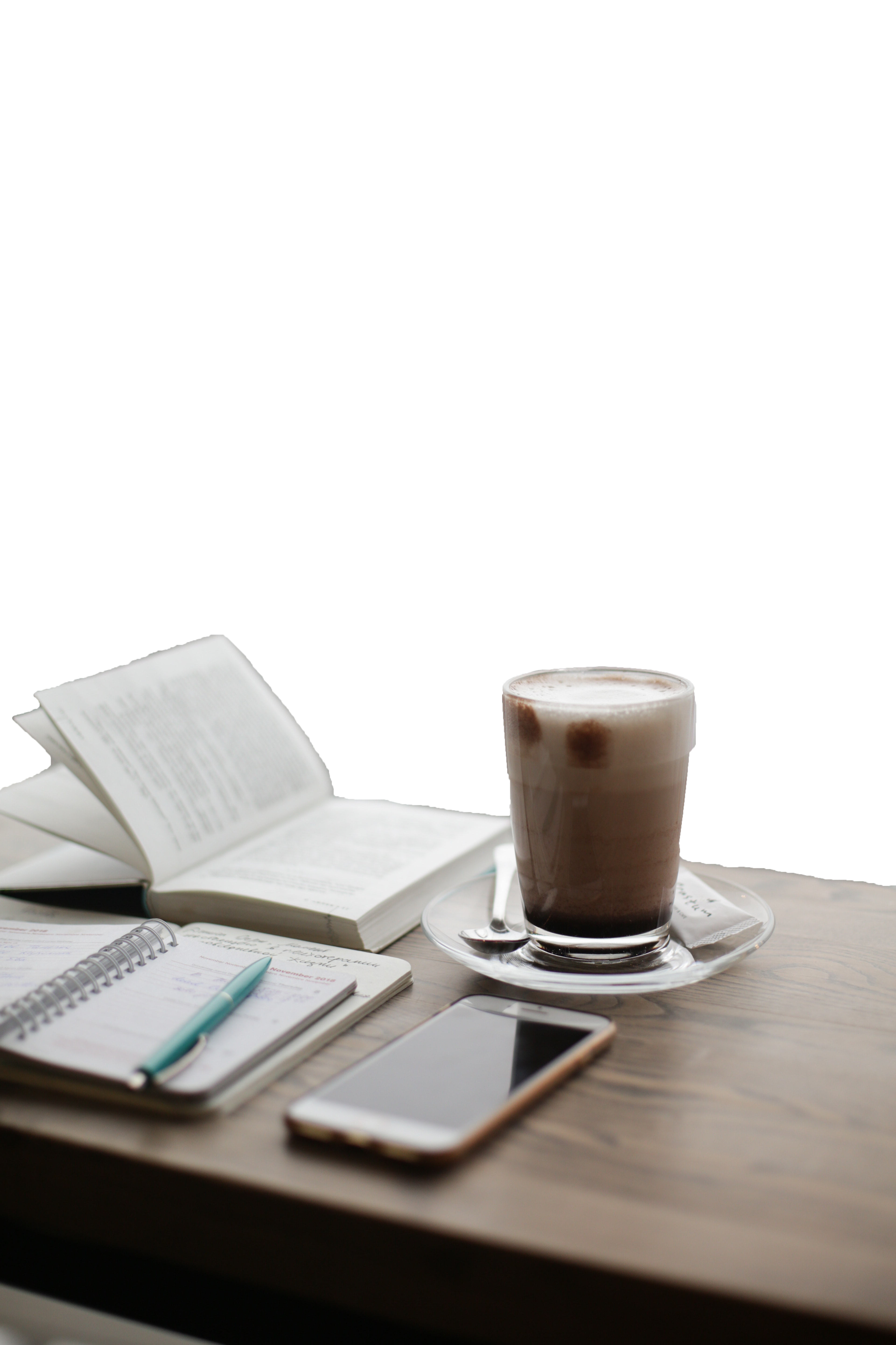 Glass of milk with open books transparent background PNG