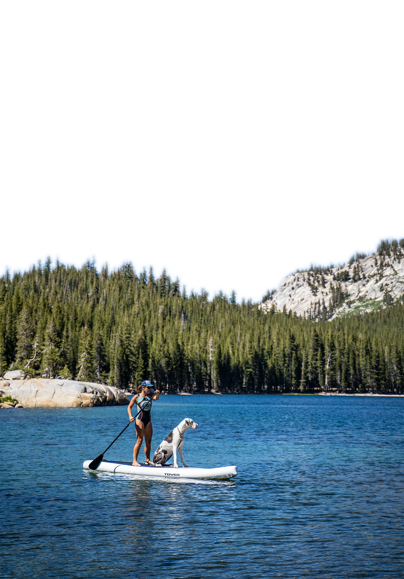 Woman with a dog in boat transparent background PNG