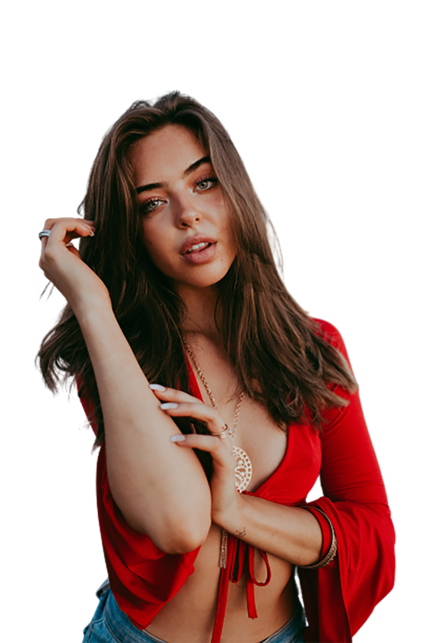 Alluring girl in red dress transparent background PNG