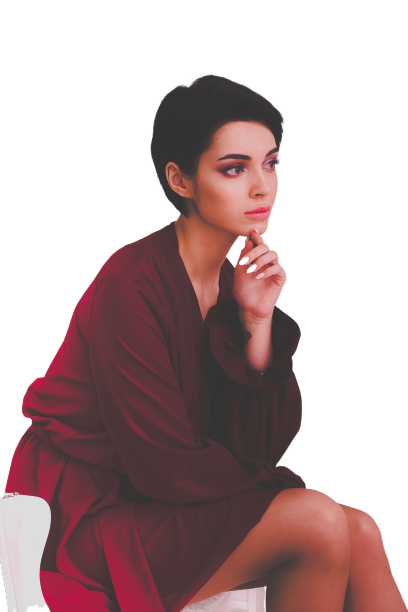 girl pic while she is thinking transparent background PNG