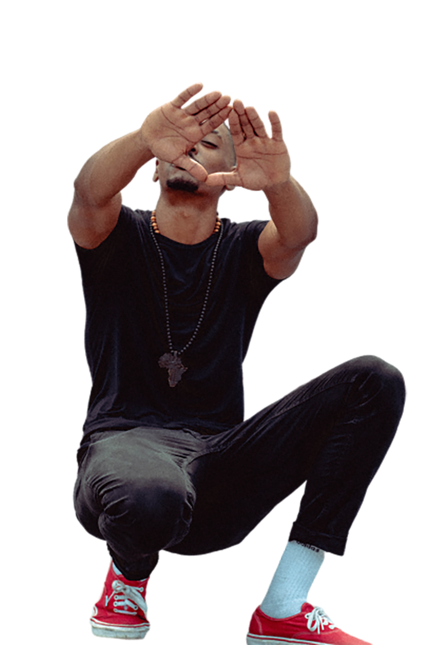 Man in black with a pose background PNG