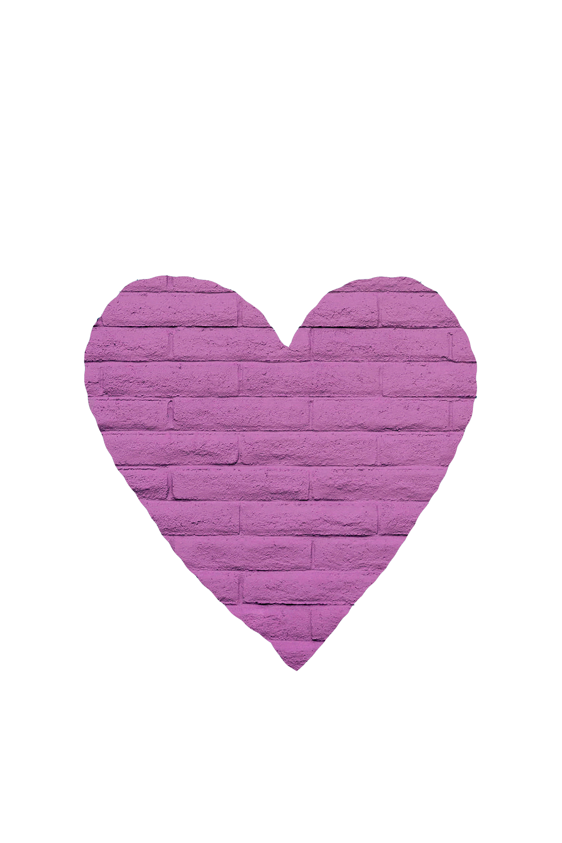 Purple-colored, brick design love shape transparent background PNG