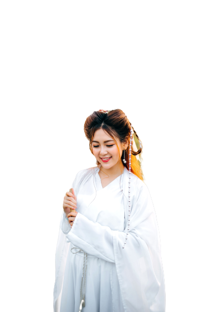 Girl wearing white dress Transparent Background PNG