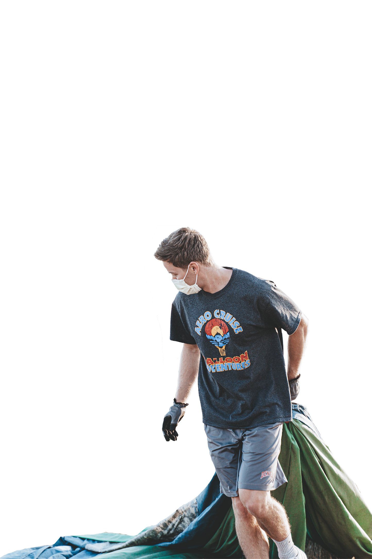 Man with white mask and black gloves transparent background PNG
