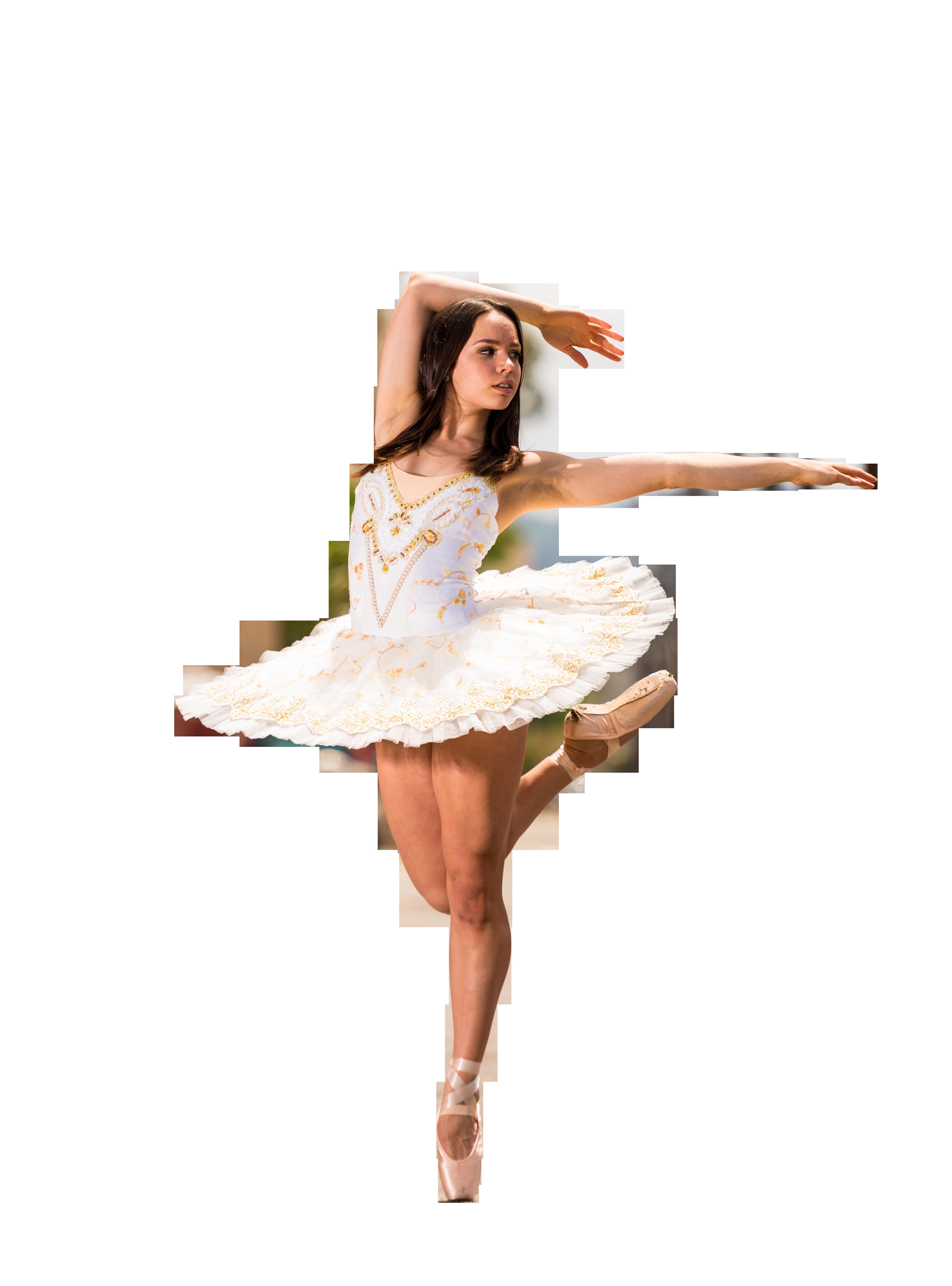 Girl In White Short Dress Doing Gymnastics Transparent Background PNG
