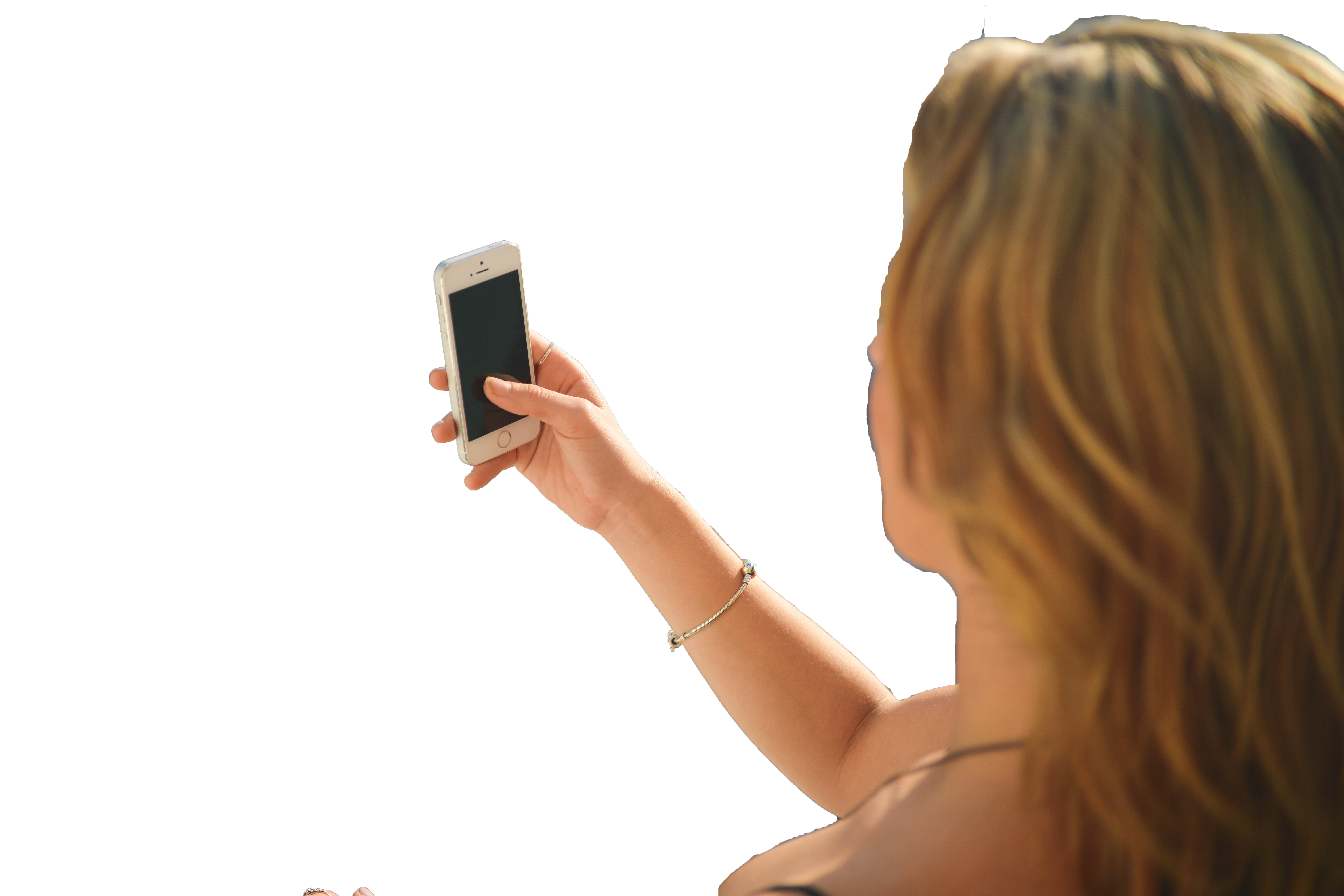 girl with mobile in hand Transparent Background PNG