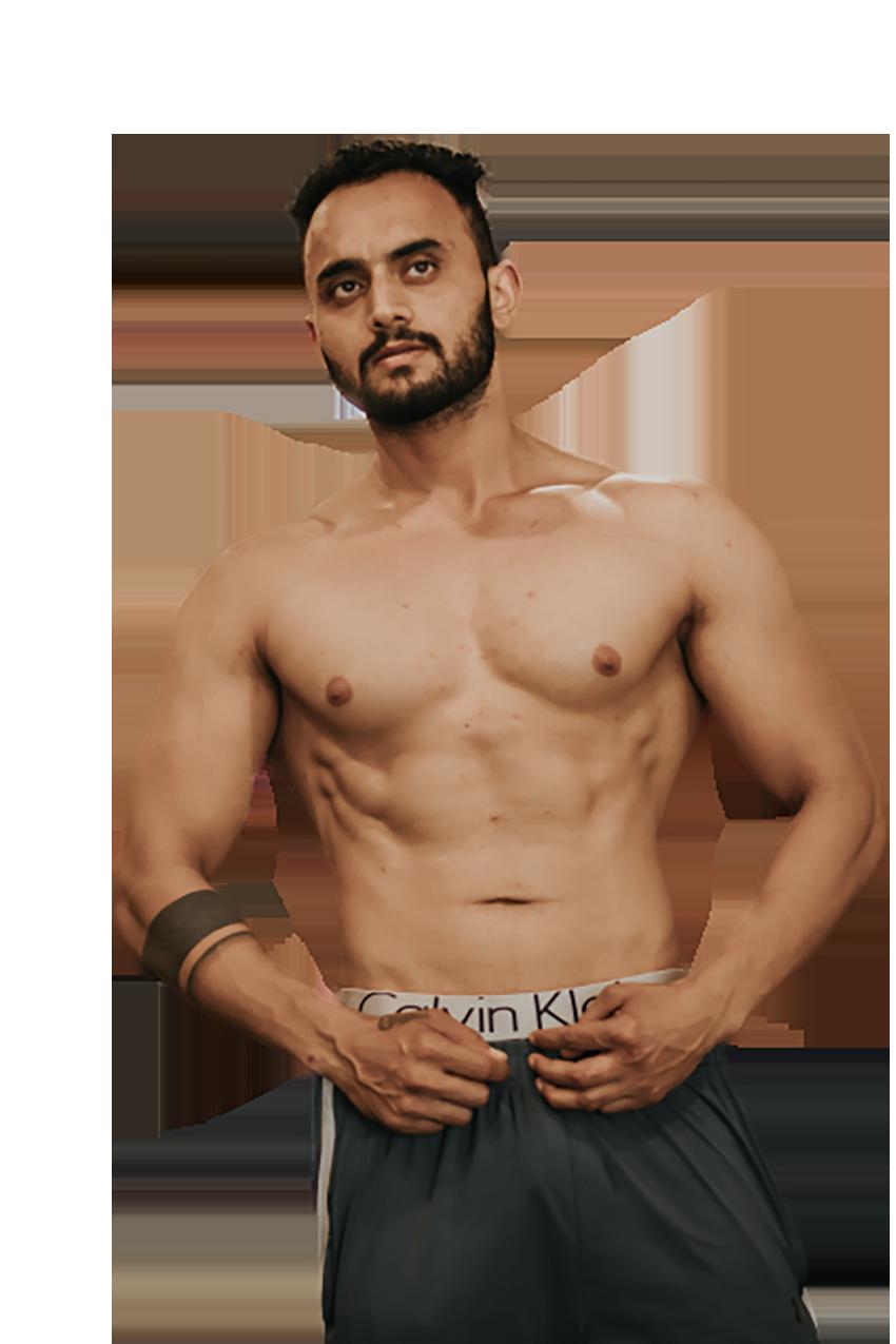 Man wearing Calvin Klein undergarment transparent background PNG