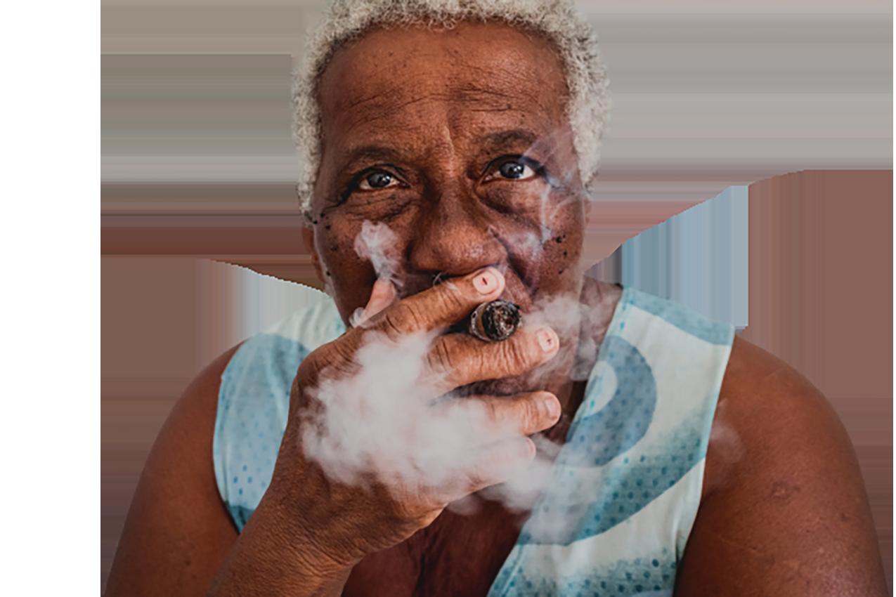 Old man taking cigarette transparent background PNG