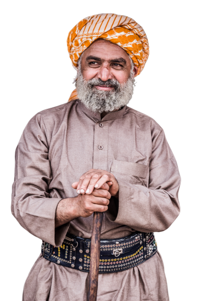 Old man with turban transparent background PNG