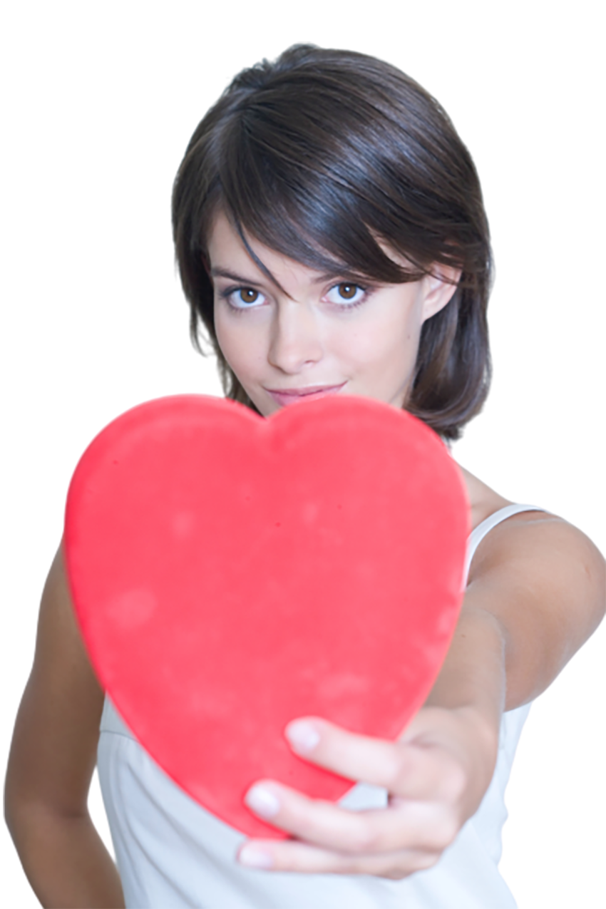 Girl showing a red love sign transparent background PNG