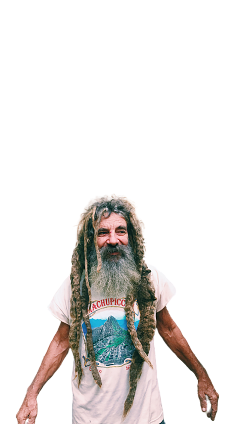 Old man with long hair and beard transparent background PNG