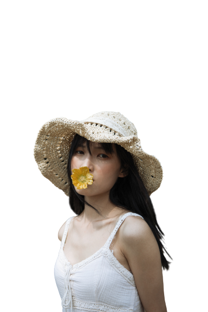 Girl with a flower in mouth transparent background PNG