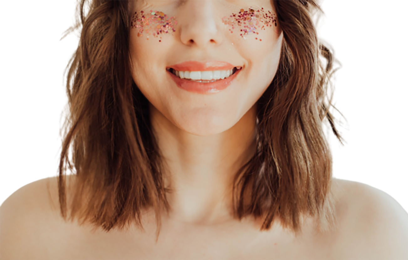 An amusing girl, laughing half face transparent background PNG