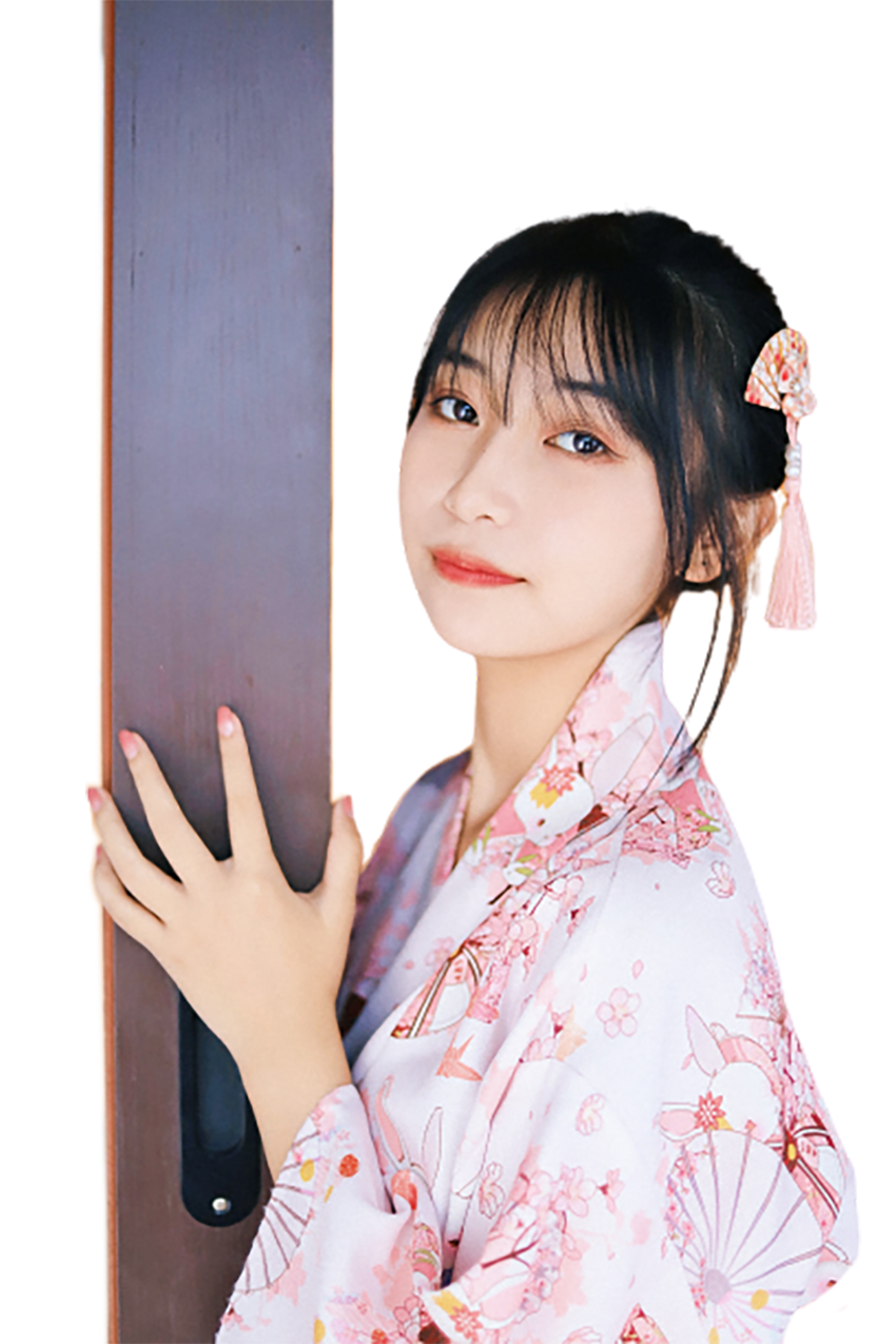A Japanese girl in traditional dress transparent background PNG